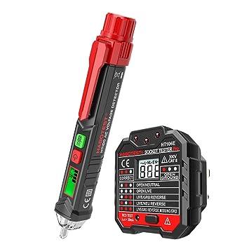 KKmoon - Comprobador de voltaje de CA portátil sin contacto, con pantalla LCD de retroiluminación de voltaje, detector de alarma con sonido y alarma de luz: ...