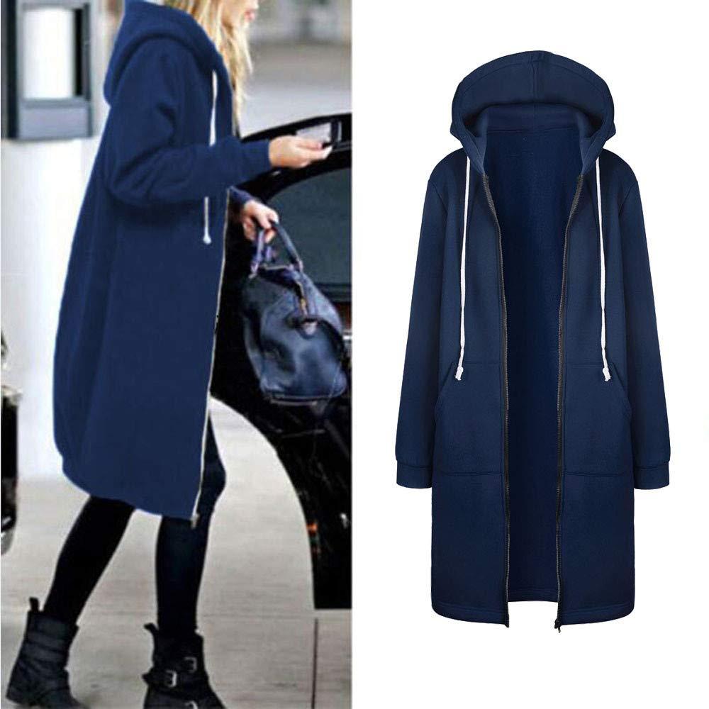 Coupondeal Women Warm Zipper Open Hoodies Sweatshirt Long Coat Jacket Tops Outwear BU/L(Blue,L) by Coupondeal