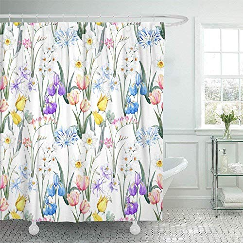 SPXUBZ Watercolor Floral Spring Pattern Botanical Tulip Flowers Narcissus Pink Freesia Blue Iris Aquilegia Shower Curtain Waterproof Bathroom Decor Polyester Fabric Curtain Sets with Hooks
