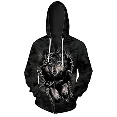 Comeon Unisex Zip Hoodie Kapuzenpullover Langarmshirt 3D Print Wolf Jacke  Sweatshirts mit Tasche S-3XL  Amazon.de  Bekleidung df82d1e6ad