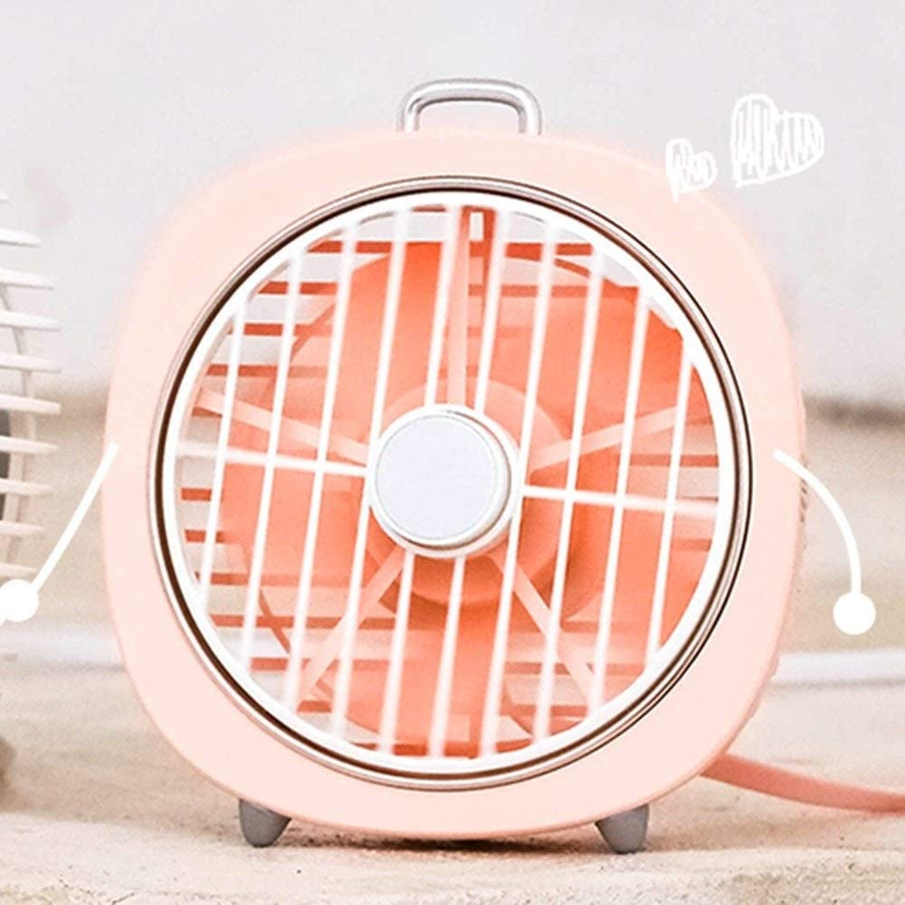 Color : Blue Handheld Electric Fan Portable Student Dormitory USB Charging Small Fan Silent Mini Night Light
