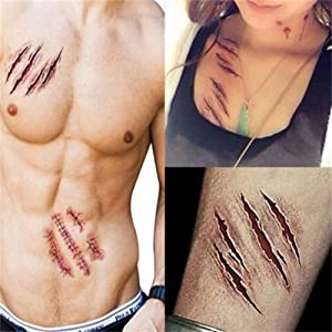 AISHNE Halloween Scratch & Stitched Wound Zombie Scars Tattoos Decals Cosplay Costumes Party Stickers 5PCS