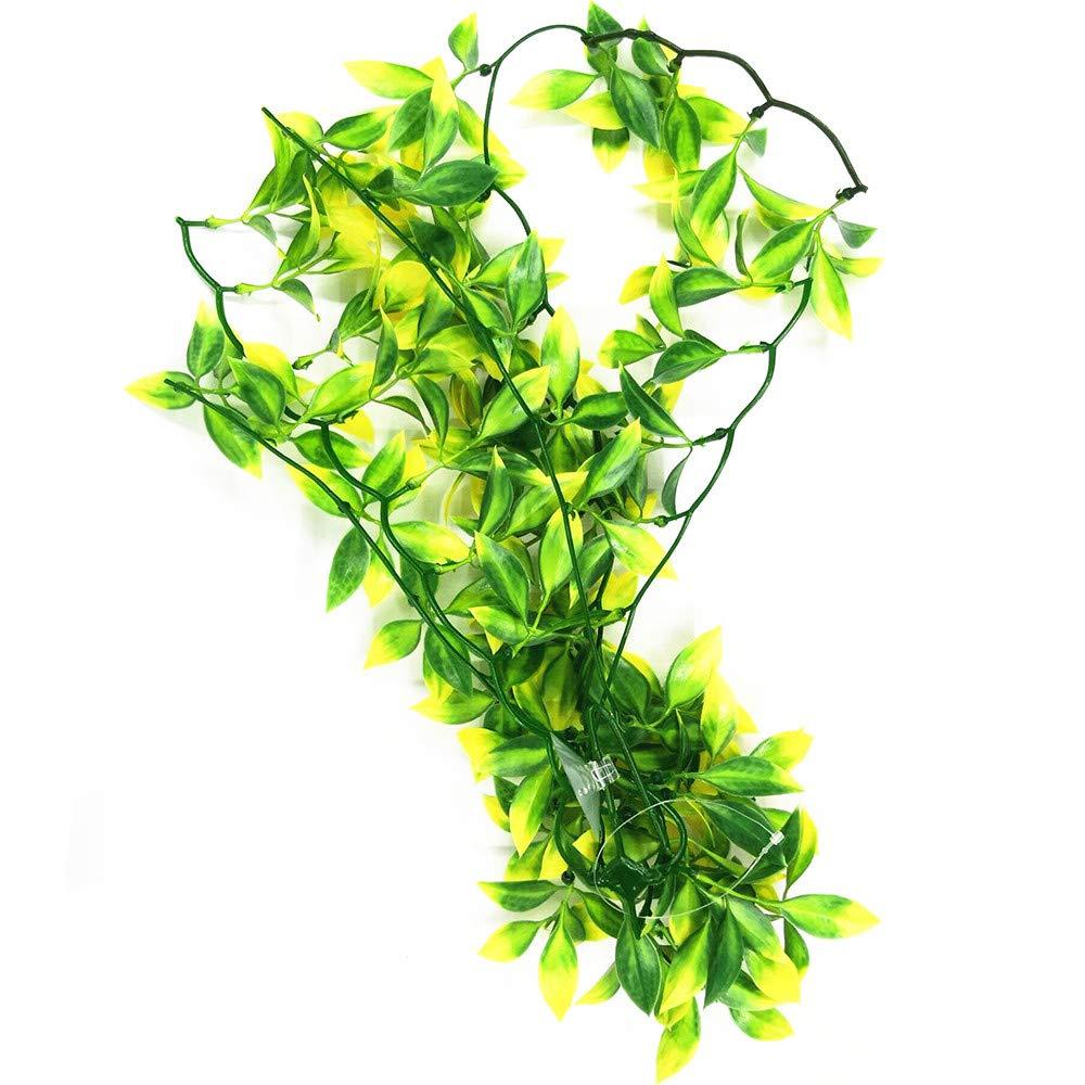 Green 50cm Fliyeong Premium Quality Aquarium Reptile Fish Tank Artificial Plastic Fake Hanging Leaves Plant Decor