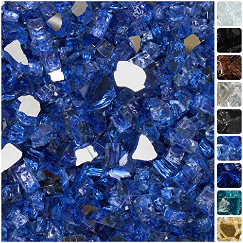 "Celestial Fire Glass High Luster, 1/2"" Reflective Tempered Fire Glass in Neptune Blue 