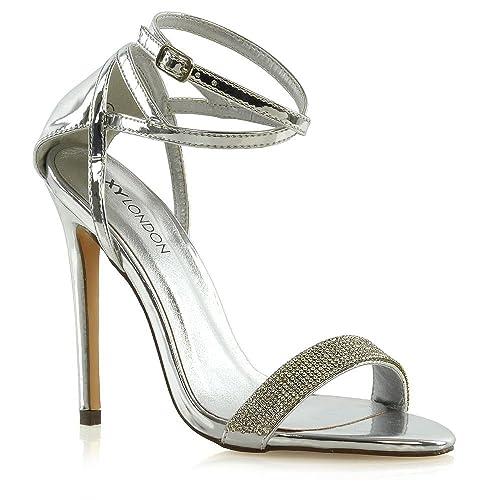 ESSEX GLAM Sandalo Donna Tacco a Spillo Finto Diamante Satin Matrimonio  Festa  Amazon.it  Scarpe e borse 2504d30d4d8