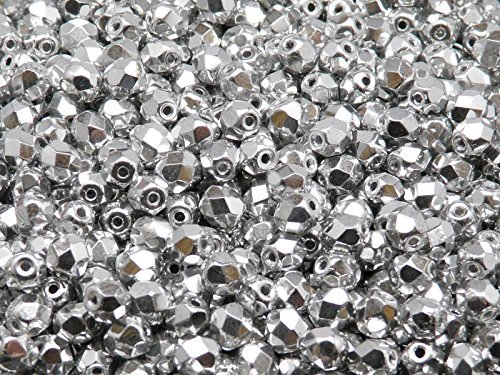 100 pcs Czech Fire-Polished Faceted Glass Beads Round 4mm Silver (Round Firepolish Czech Glass Beads)