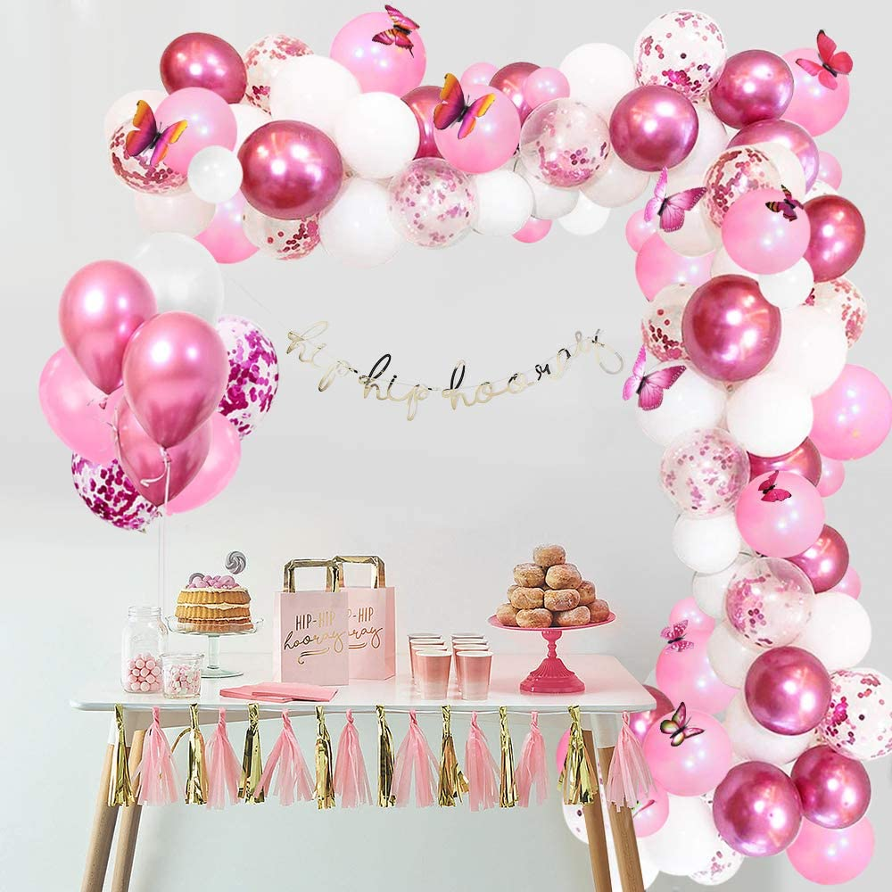 Metallic Pink Balloon Confetti Balloons with 12pcs Butterflies Kits for Girls Baby Shower APERIL Balloon Arch Kit Pink Wedding White Latex Balloons 117pcs Pink Birthday Party Decorations