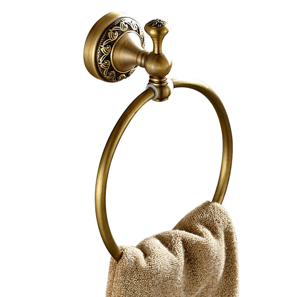 CASEWIND Round Towel Ring Towel Holder Rail, all Solid Brass Construction Bathroom Accessories for Kitchen Wall Mounted with Carvings Antique Retro Design