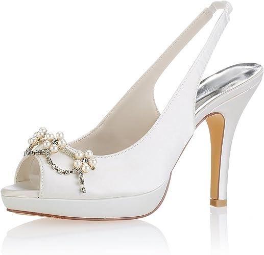 Emily Bridal Scarpe da Sposa Avorio Peep Toe Perle
