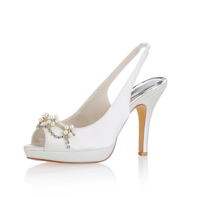 Emily Bridal Elfenbein Hochzeit Schuhe Peep Toe Perlen Slingpumps Brautschuhe Frauen High Heels