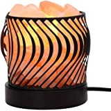 YYout Wide Round Style Himalayan Crystal Rock Salt Lamp Basket UL-Listed Cord and 15-Watt Light Bulb & Dimmable Switch