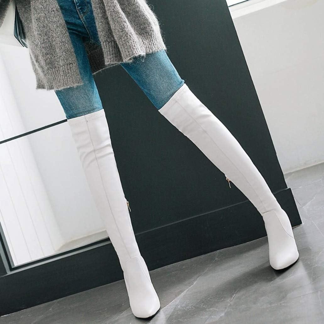 Botas sobre La Rodilla De Tacón Alto para Mujer Plataforma De Cuero Elegante y Cálido Fiesta De Baile Boda Muslo Stiletto Botas Altas Tamaño Blanco 6Dtfw
