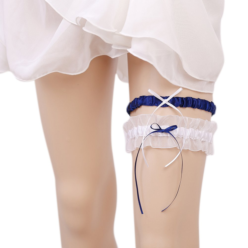 Yiweir Bridal Solid Color Garter Set Lace Flowers Edge Wedding Accessory Garter006-Black