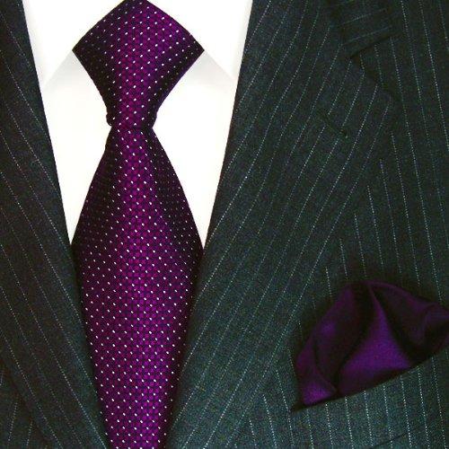 8446601 Lorenzo Cana Lila Violett Krawatte mit weissen Punkten aus 100/% Seide und Einstecktuch