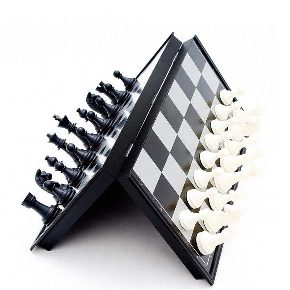 As picture 19.519.5cm Jeu d'échecs pliant Chess Set Folding Magnetic Wooden Standard Chess Game Board Set with Wooden Crafted Pieces and Chessmen Storage Slots Pour les Enfants et les adultes