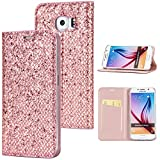 Stysen Galaxy S7 Edge Flip Case,Galaxy S7 Edge Glitter Wallet Case,Elegant Noble Stylish Rose Gold Shiny PU Leather Bookstyle Wallet Protective Case Cover for Samsung Galaxy S7 Edge-Rose Gold