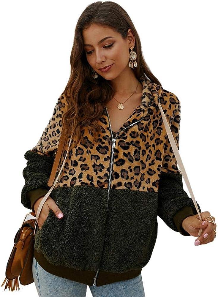 YYW Women's Long Sleeve Leopard Fuzzy Hoodies Fleece Shaggy Jacket Sherpa Parka Leopard Print Color-Block Fuzzy Hoodies Coat