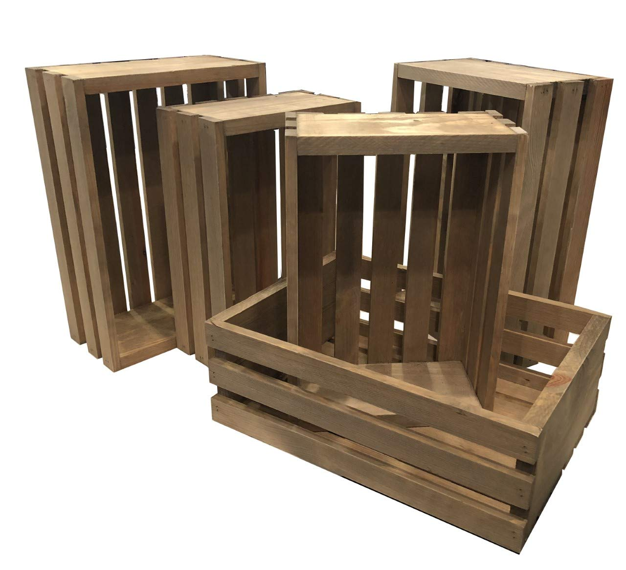 Rustic Nesting Wood Crates Set Of 5 Made In The Usa