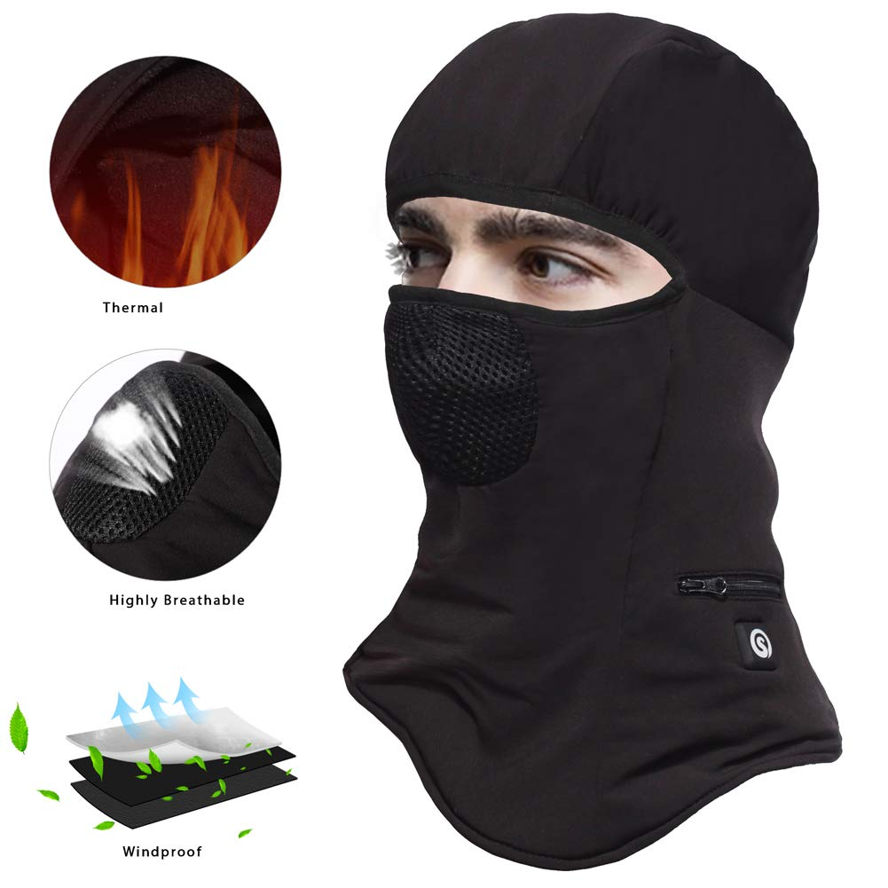 Balaclava Face Mask Cold Weather,Heated Hat Windproof Thermal Fleece Ski Mask Ninja Mask for Men Skiing,Cycling Head wrap