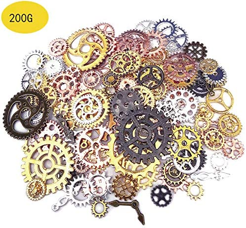 200 Gram Antique Metal Steampunk Gears Charms DIY Pendant Clock Watch Wheel Gear Cog for Jewelry Making