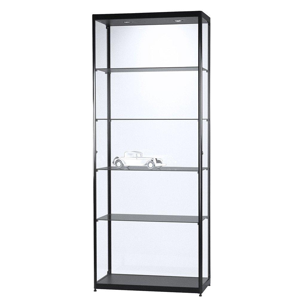 Vitrine Glasvitrine Standvitrine Sammlervitrine Basic 800 Alu Schwarz Glas beleuchtet abschließbar
