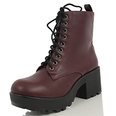SODA Women's Magpie Faux Leather Lace-Up Combat Mid Heel Military Ankle Boots, Dark Wine, 9 M US | Ankle & Bootie
