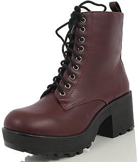 Amazon.com | Soda Women's Malia Faux Leather Lace Up Chunky Ankle ...