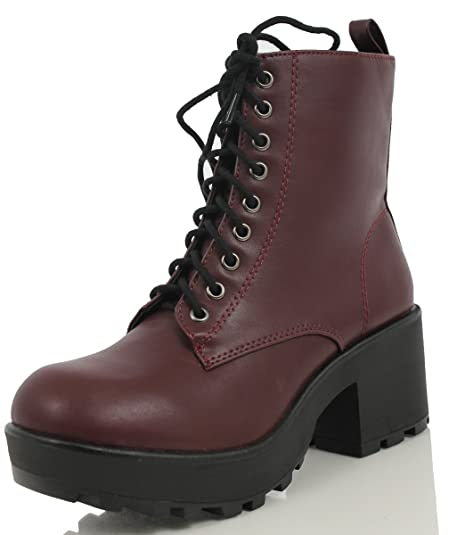 ccfadf24d Soda Women's Magpie Faux Leather Lace-Up Combat Mid Heel Military Ankle  Boots, Dark Wine, 5.5 M US: Amazon.ca: Shoes & Handbags