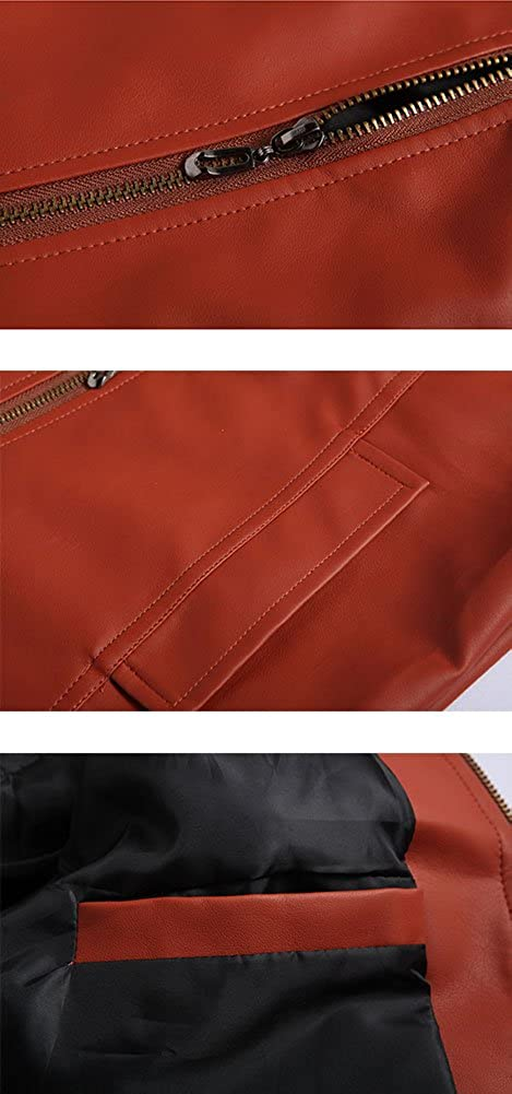 GSHappyGo Mens Stand Collar Multi Pocket Leather Motorcycle Faux Leather Jacket