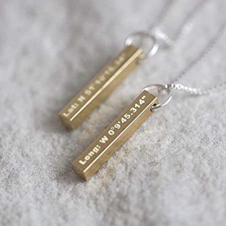 783634ba871b4 OHS Brass Bar Coordinates Necklace valentines for Her present