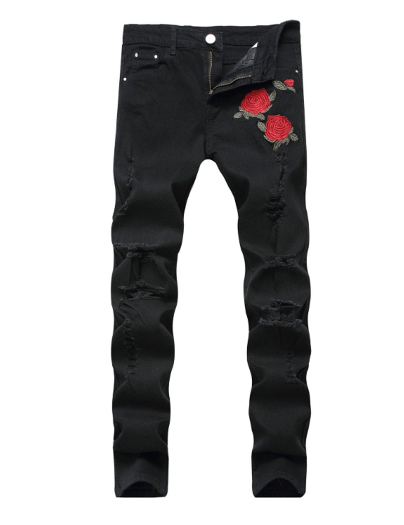 Bestgift Men's Distressed Normal Waist Embroidery Flower Jeans 32 Black