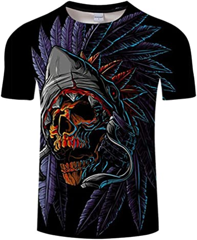 Unisex Camisetas de Manga Corta Casual Hipster Camisas Deportivas Sport Cráneo Indio Pluma-XS: Amazon.es: Ropa y accesorios