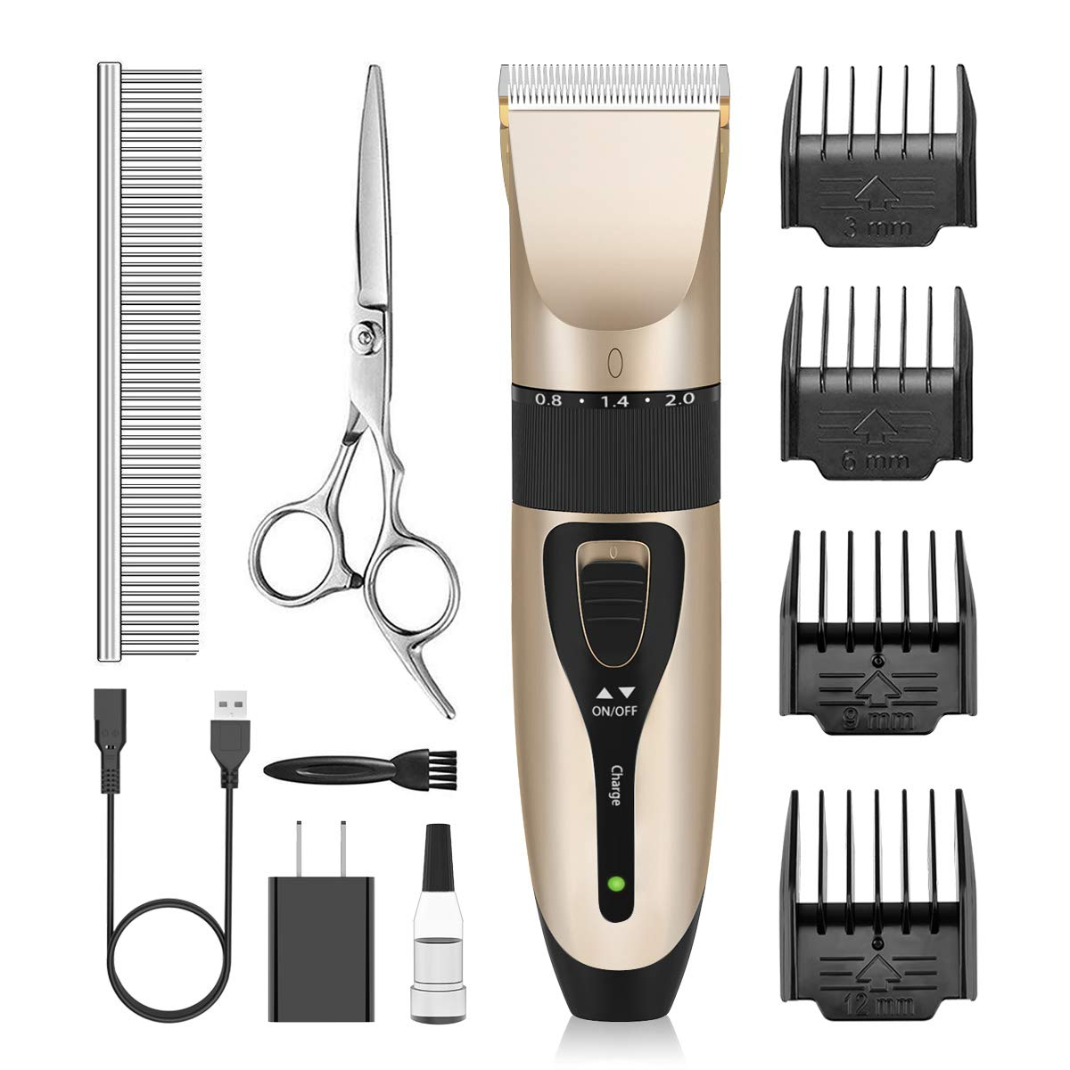 Nicewell Dog Clippers Powerful and Low Noise Dog Grooming Kit, USB Rechargeable Cordless Pet Clippers for Dogs Cats, with Attachment Guide Combs and Scissors