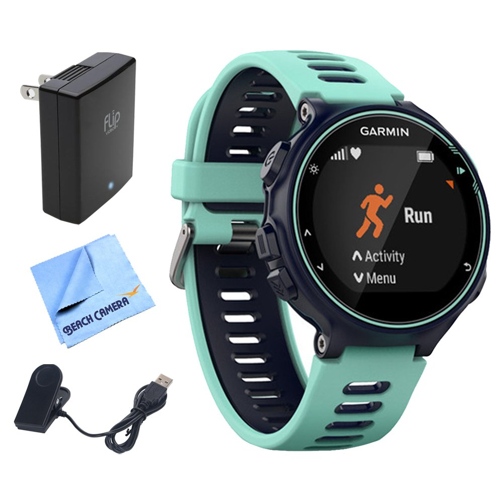 Garmin Forerunner 735XT GPS Running Watch - Midnight Blue (010-01614-01) w/ Accessories Bundle Includes, Extreme Speed Charging Clip, Universal USB Travel Wall Charger & 1 Piece Micro Fiber Cloth by Garmin