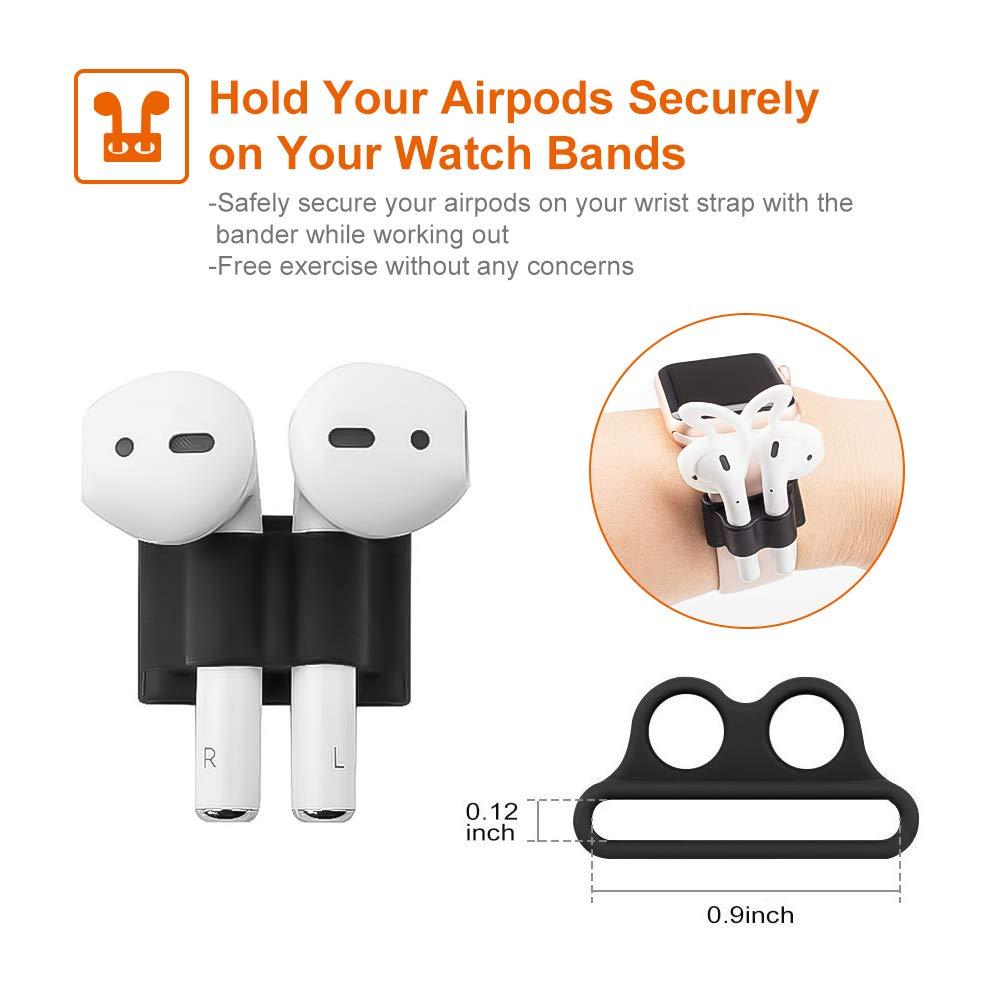 Airpods Case 4 in 1 New Bee Premium Silikon Kratzfestes Airpods Schutzhüllen Set für Airpods-Ladeetui mit Airpod Etui/Cliphalter/Band/Ohrhaken (Schwarz)