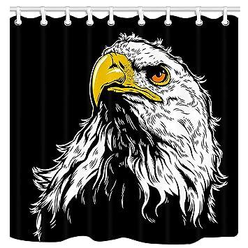 JAWO American Bald Eagle Shower Curtain Animal Bird Black And White Hawk Waterproof Bathroom Decor Polyester