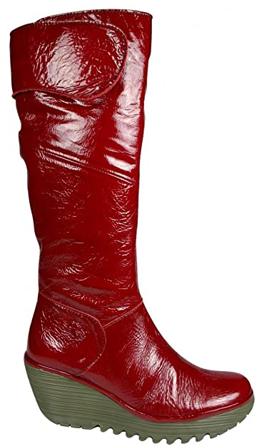f334e94c9c1 Fly London Women s Yule Rubber Textile Leather Patent Boots  Amazon.co.uk   Shoes   Bags