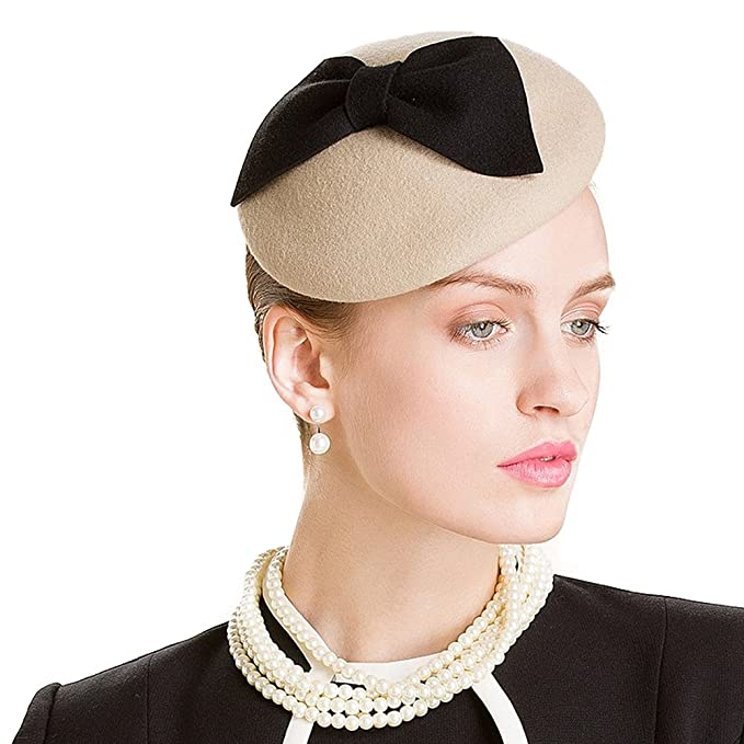 fbc8542e Image Unavailable. Image not available for. Color: Lawliet Womens Camel  Wool Felt Fascinator Bow Beret Cocktail Pillbox ...