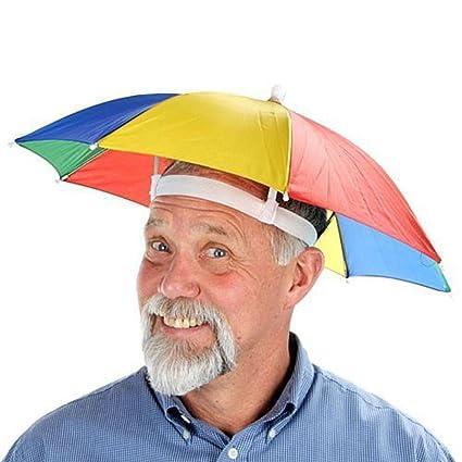 Malloom Novedad plegable Paraguas de cabeza sombrero para el sol y la lluvia, para golf