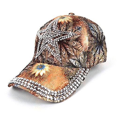 Embellished Flower Hat (Star Bling Embellished Tan Flower Baseball Cap)