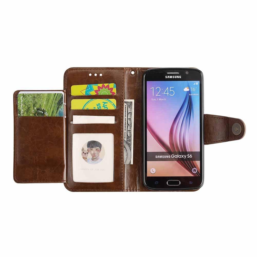 Coque Galaxy S6 Edge Dfly R/étro PU Cuir Page Style Int/égr/é 5 Emplacements de Carte Classique Fermoir Magn/étique B/équille Fonction Ultra Mince Housse Rabat Portefeuille Etui Case pour Samsung Galaxy S6 Edge Rouge