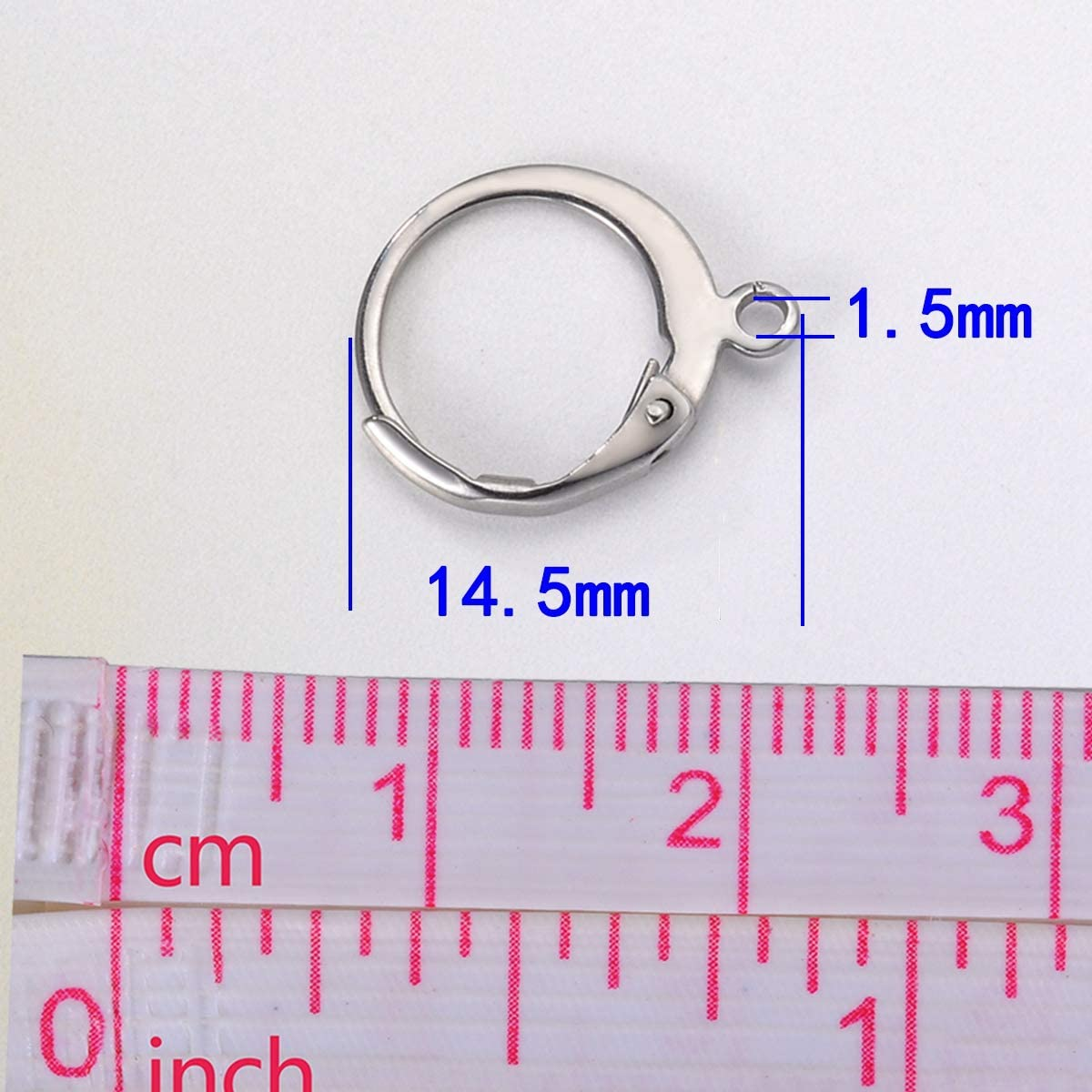 10PCS Stainless Steel Silver Tone Ear Wire Lever Back Open Loop French Earring Hook Jewelry 14.5mmx12mm