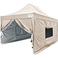 Quictent Privacy 10'x15' EZ Pop Up Canopy Gazebo Instant Tent Pyramid-roofed Waterproof with Sidewalls and Mesh Windows-7 Colors