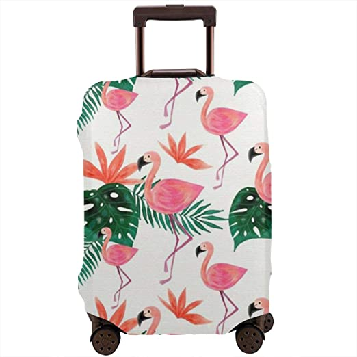 Flamingo Bird Elastic Travel Luggage Cover,Double Print Fashion Washable Suitcase Protector Cover Fits 18-32inch Luggage