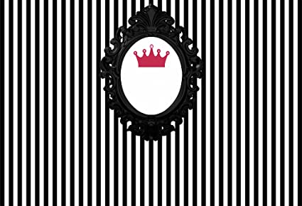 5d618b1e4e623 HUAYI 6.5x5ft Photo Booth Birthday Banner Vinyl Krone Background Black NAD  White Stripes Backdrop Photography