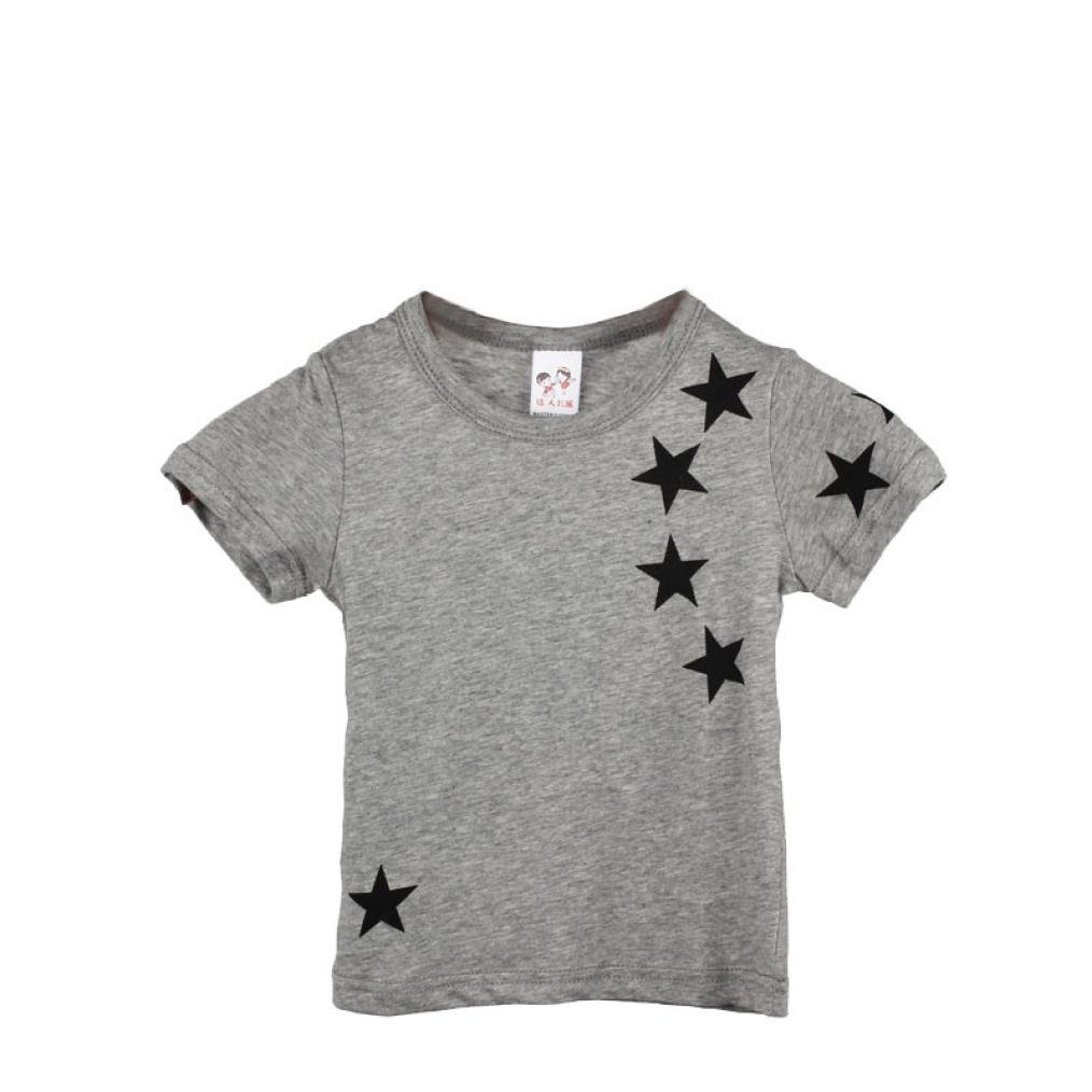 abcnature Children Short Sleeve Tops,Boy Kids Child Cotton Star Short Sleeve Tops O Neck T Shirt Tees (Gray, C)