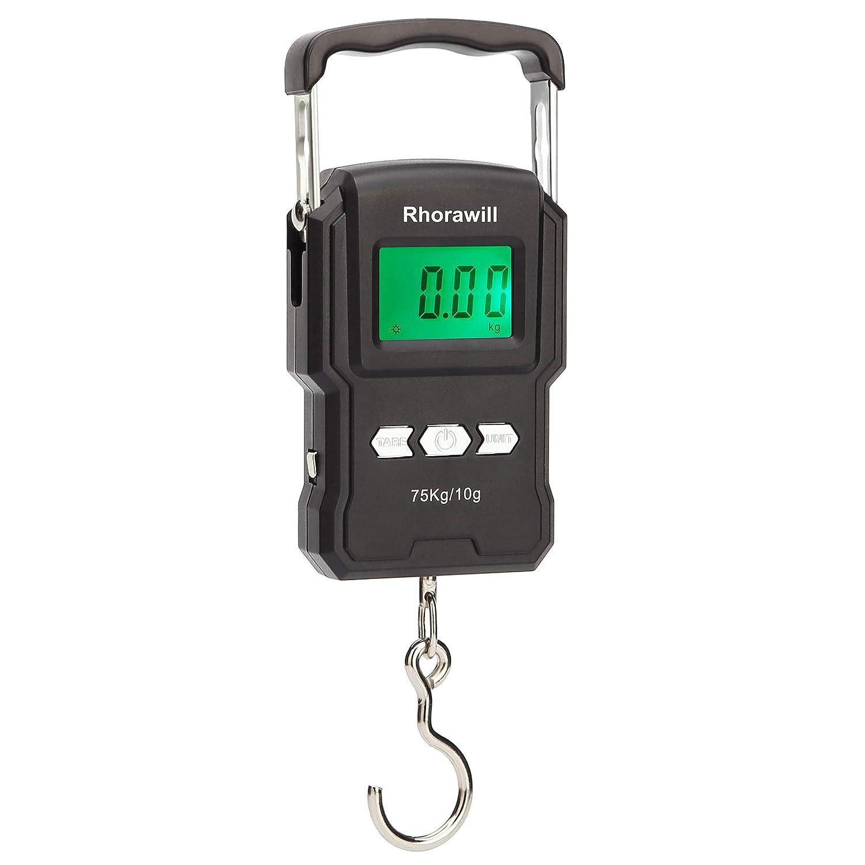 Balanza de pesca digital Rhorawill, 75 kg, con cinta métrica, bolsa de transporte, pilas, pantalla iluminada, termómetro para viajes y vida familiar