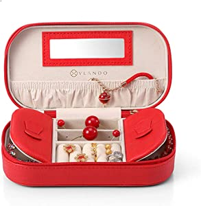 Vlando Small Tassels Travel Jewelry Box/Bag with Gift Packing, Fabulous Girls Gift Case (Red)
