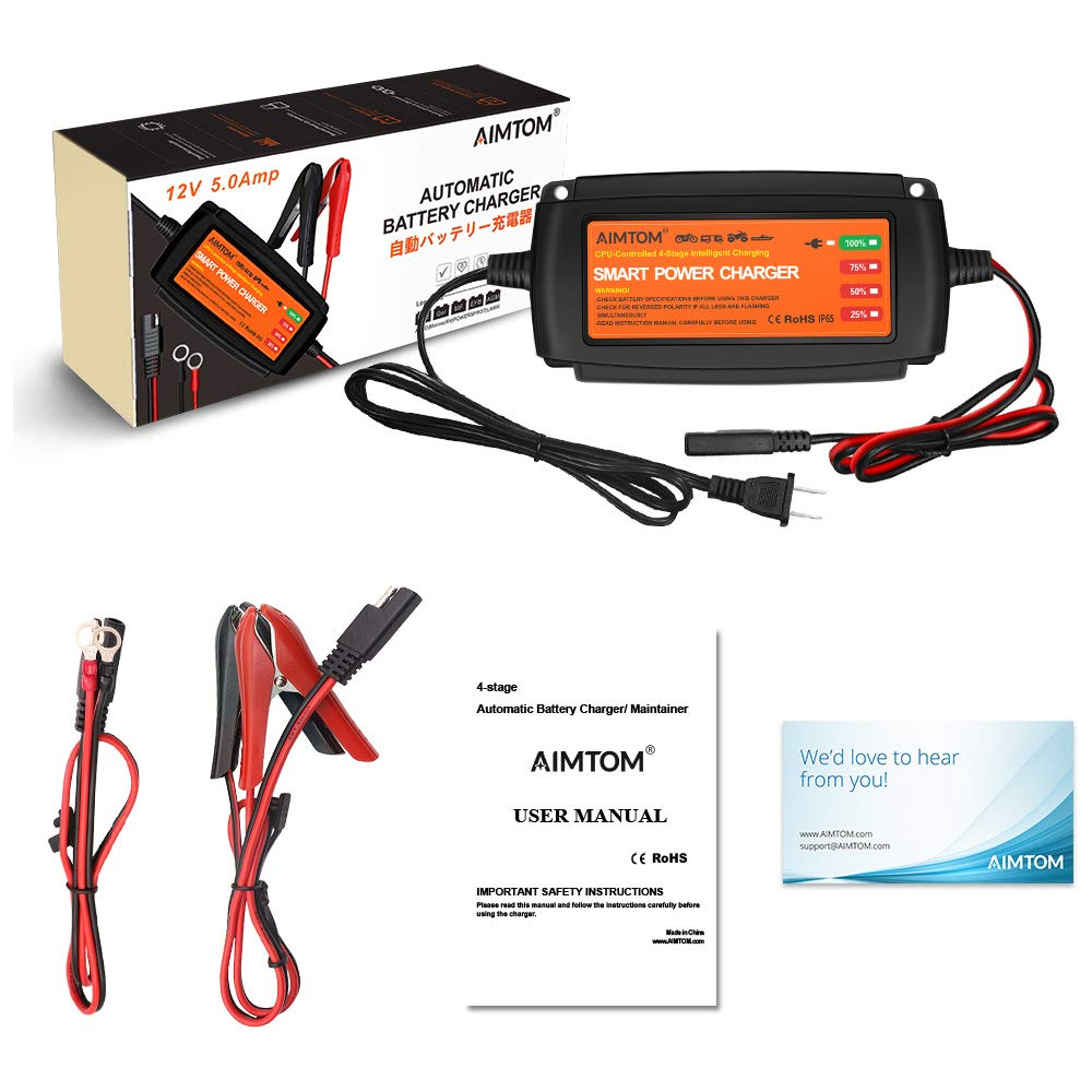 AIMTOM 5Amp Smart Battery Charger Sealed Lead Acid Batteries VRLA Fits AGM 4-Stage Extra-Safe 12V Intelligent Maintainer for Car RV SUV Truck Motorcycle Boat Lawn Mower Use Wet Gel