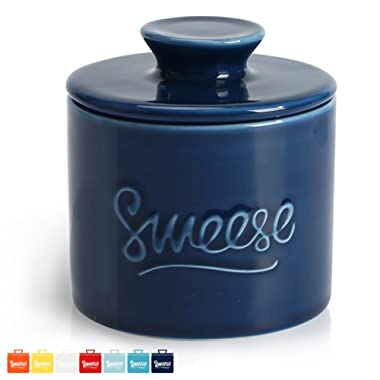Sweese 3116 Porcelain Butter Keeper Crock - French Butter Dish - No More Hard Butter - Perfect Spreadable Consistency, Navy